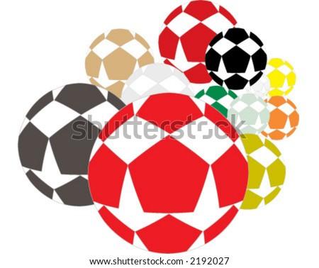 soccer ball, football, star - stock vector