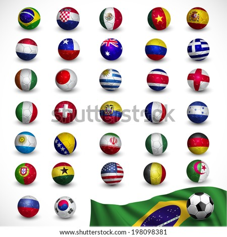 soccer ball (Football) with nation flag - Brazil 2014, Soccer Tournament, vector illustration - stock vector