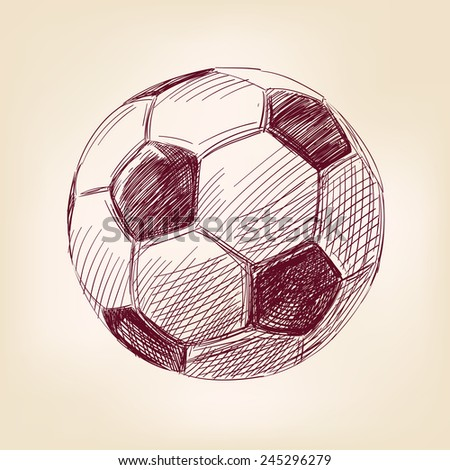 soccer ball hand drawn vector llustration realistic sketch - stock vector