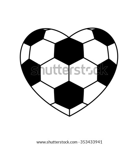 soccer ball heart isolated on white background. vector illustration - stock vector