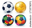 Soccer Ball Icons. Classic Leather Ball, Golden Ball, Multicolored Ball and Ball from World Flags. - stock photo