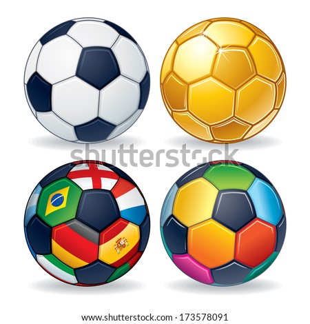 Soccer Ball Icons. Classic Leather Ball, Golden Ball, Multicolored Ball and Ball from World Flags. - stock vector