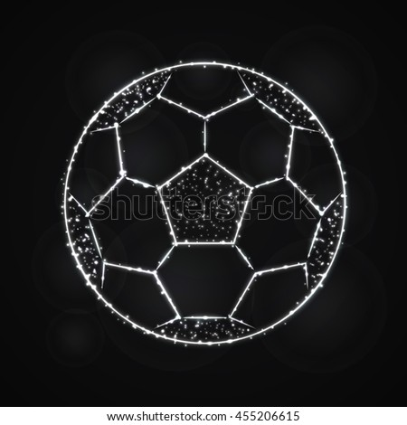 Soccer Ball Illustration Icon, Gray Color Lights Silhouette on Dark Background. Glowing Lines and Points - stock vector