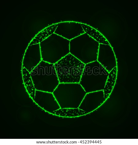 Soccer Ball Illustration Icon, Green Color Lights Silhouette on Dark Background. Glowing Lines and Points - stock vector
