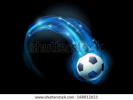 Soccer ball in blue flames and lights against black background. Vector illustration. - stock vector