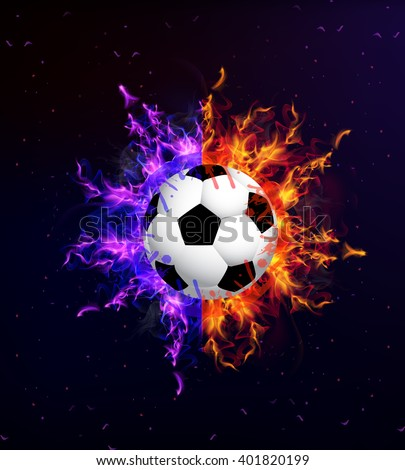 Soccer ball in fire - stock vector