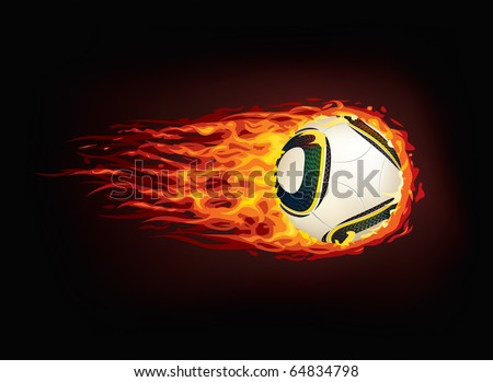 Soccer Ball in Fire isolated on Black Background. Vector. - stock vector