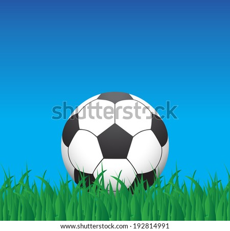 Soccer ball in grass, illustration - stock vector