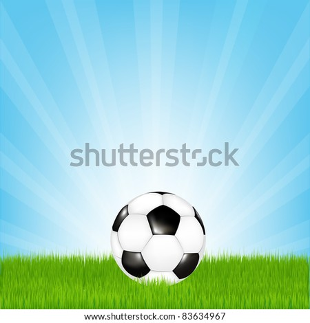 Soccer Ball In Grass, Vector Illustration