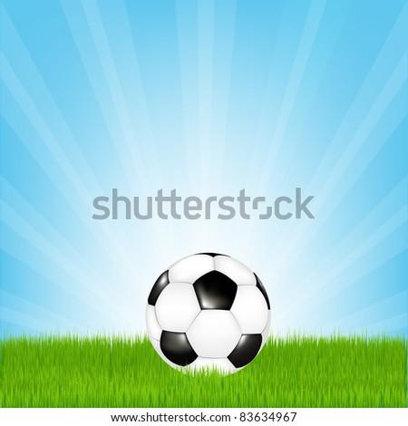 Soccer Ball In Grass, Vector Illustration - stock vector