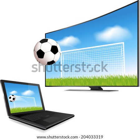 Soccer ball in motion flying off Smart Tv screen  - stock vector