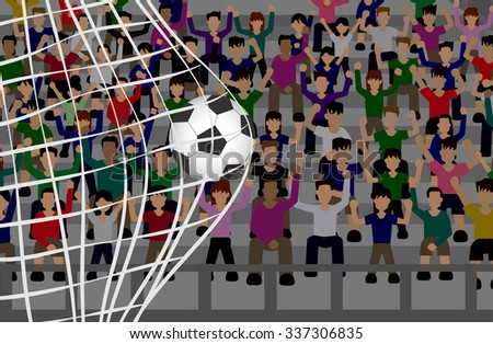 soccer ball in net with crowd on grandstand. vector - stock vector