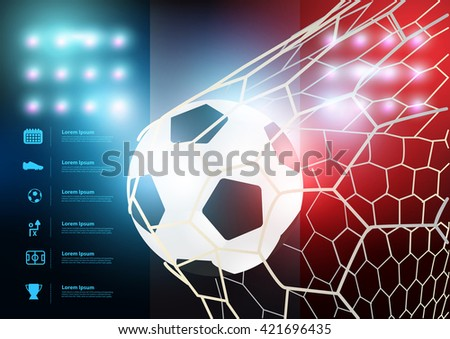 Soccer ball in net with France flag background, Vector illustration layout template design - stock vector
