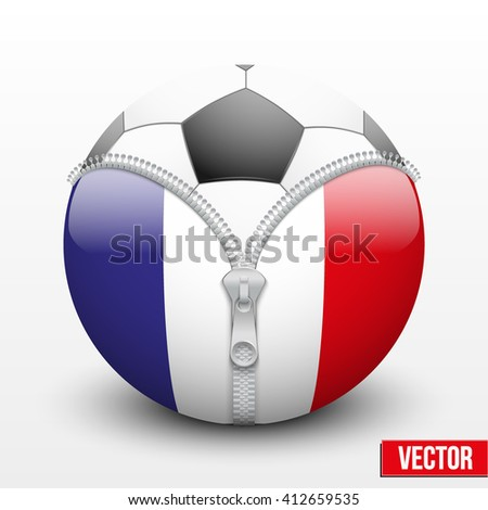Soccer ball inside France symbol. Vector sport Illustration. Isolated.