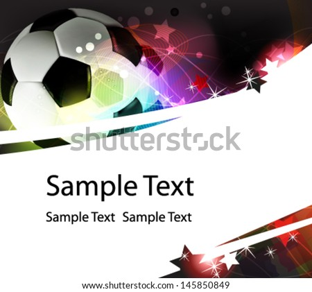 Soccer ball on a wavy abstract background with sparks and stars - stock vector