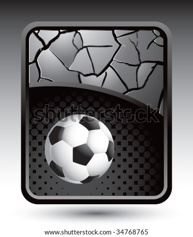 soccer ball on cracked halftone template - stock vector