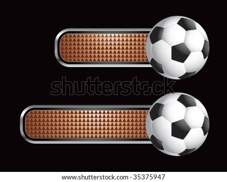 soccer ball on diamond checkered banners - stock vector