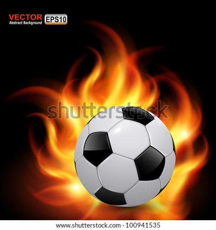 Soccer ball on fire, vector background - stock vector