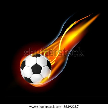 Soccer Ball on Fire. Vector illustration on black background - stock vector