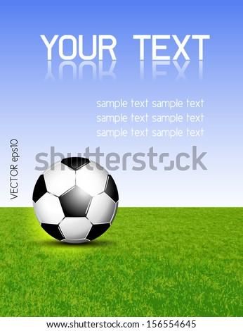 Soccer ball on grass against blue sky - stock vector