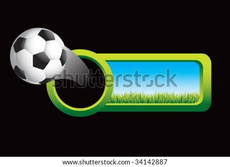 soccer ball on grass banner - stock vector