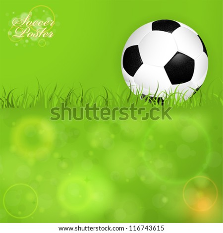 Soccer Ball on Grass with Bright Background, vector illustration