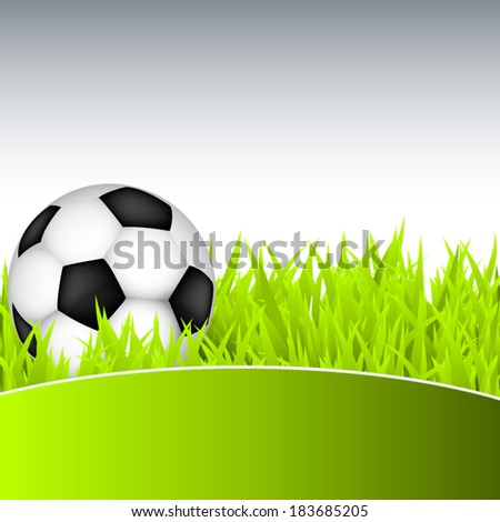 Soccer ball on green grass - stock vector