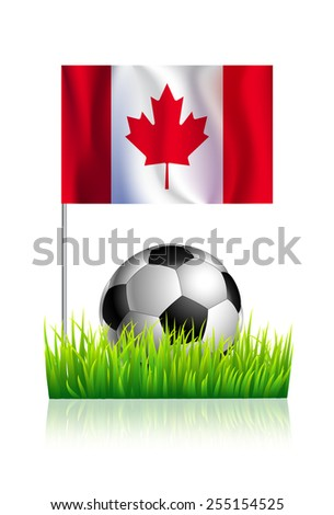 Soccer Ball on green grass field with flag of Canada - stock vector