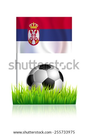 Soccer Ball on green grass field with flag of Serbia - stock vector