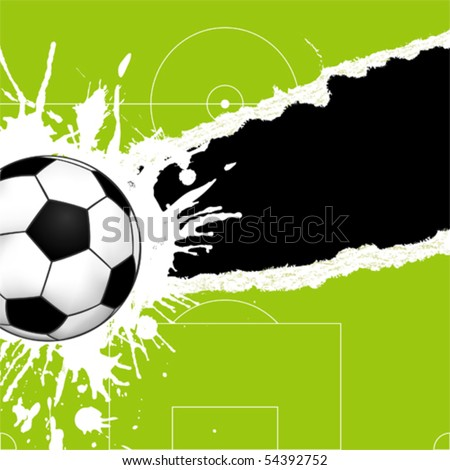 Soccer ball on green torn paper with hole, element for design, vector illustration - stock vector