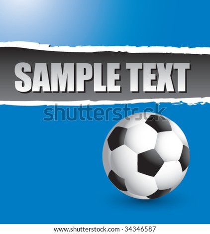 soccer ball on ripped colored paper - stock vector
