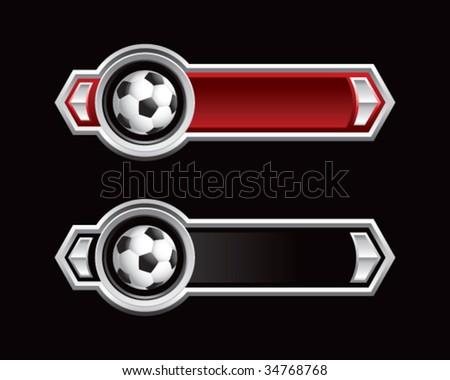 soccer ball on royal horizontal banners - stock vector
