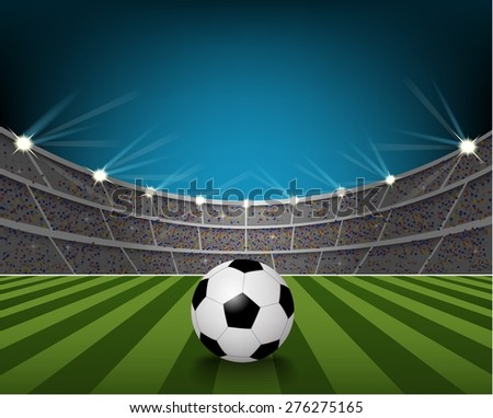 Soccer ball on the field of stadium with light. vector - stock vector