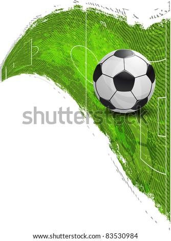 Soccer Ball on the football field - stock vector