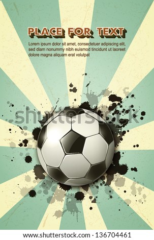 soccer ball on vintage background ep10 - stock vector