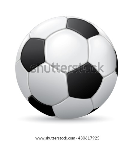 Soccer ball on white background with shadow - stock vector