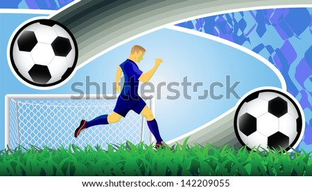 Soccer ball, player and goal. - stock vector