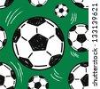 soccer ball seamless pattern - stock vector