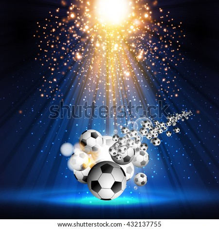 soccer ball stage light spotlight illustration easy all editable - stock vector