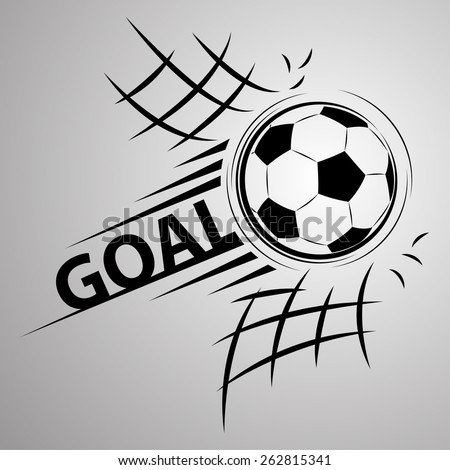 Soccer ball through the net - stock vector