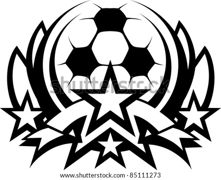Soccer Ball Vector Graphic Template with Stars - stock vector