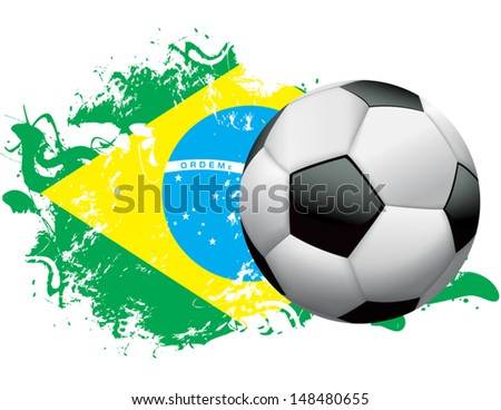 Soccer ball with a grunge flag of Brazil. EPS 10. File contains transparencies and gradient mesh.