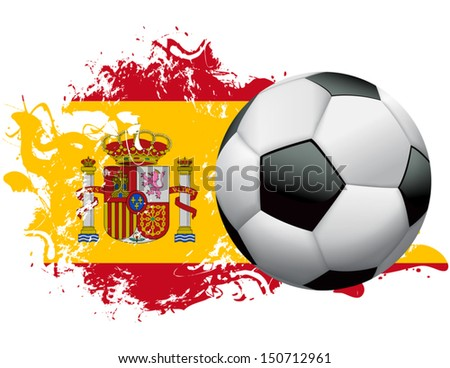 Soccer ball with a grunge flag of Spain. EPS 10. File contains transparencies and gradient mesh. - stock vector