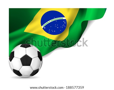 Soccer ball with brasil flag. Vector illustration - stock vector