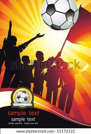 Soccer ball with crowd silhouettes of sport fans. Vector Football background with space for text.
