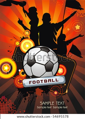 Soccer ball with crowd silhouettes of sport fans. Vector Football background with space for text - stock vector