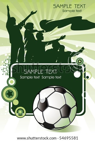 Soccer ball with crowd silhouettes of sport fans. Vector Football background with space for text. - stock vector