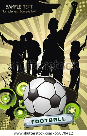 Soccer ball with crowd silhouettes of sport fans. Vector Football background with space for your text. - stock vector