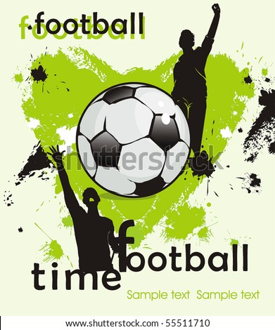 Soccer ball with crowd silhouettes of sport fans. Vector Football background with space for your text. Abstract Classical football poster.