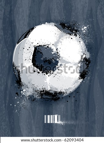 Soccer ball with dirty liquid effect on dirty background. Abstract grunge style. EPS 10 vector illustration. - stock vector